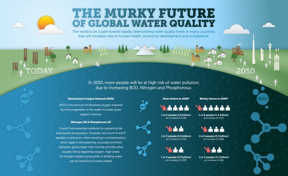 Infographic describing what causes water pollution. Includes data on biochemical oxygen demand, nitrogen and phosphorous.