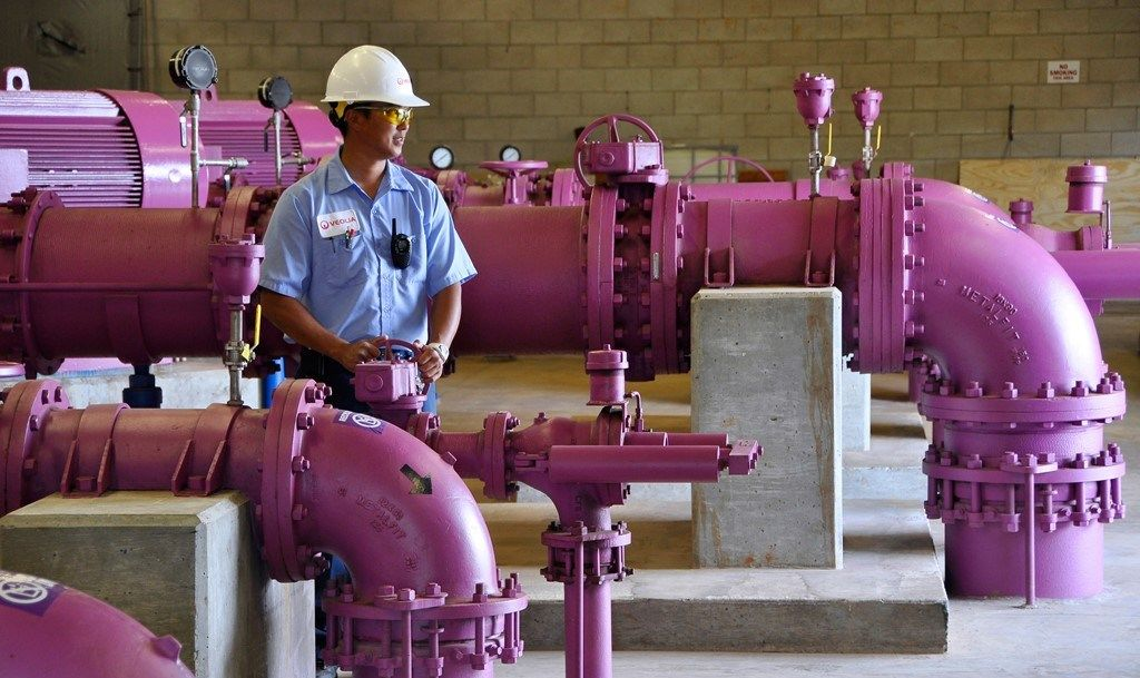 These pink pipes make up sustainable infrastructure in Honolulu, recycling water for industrial operations.