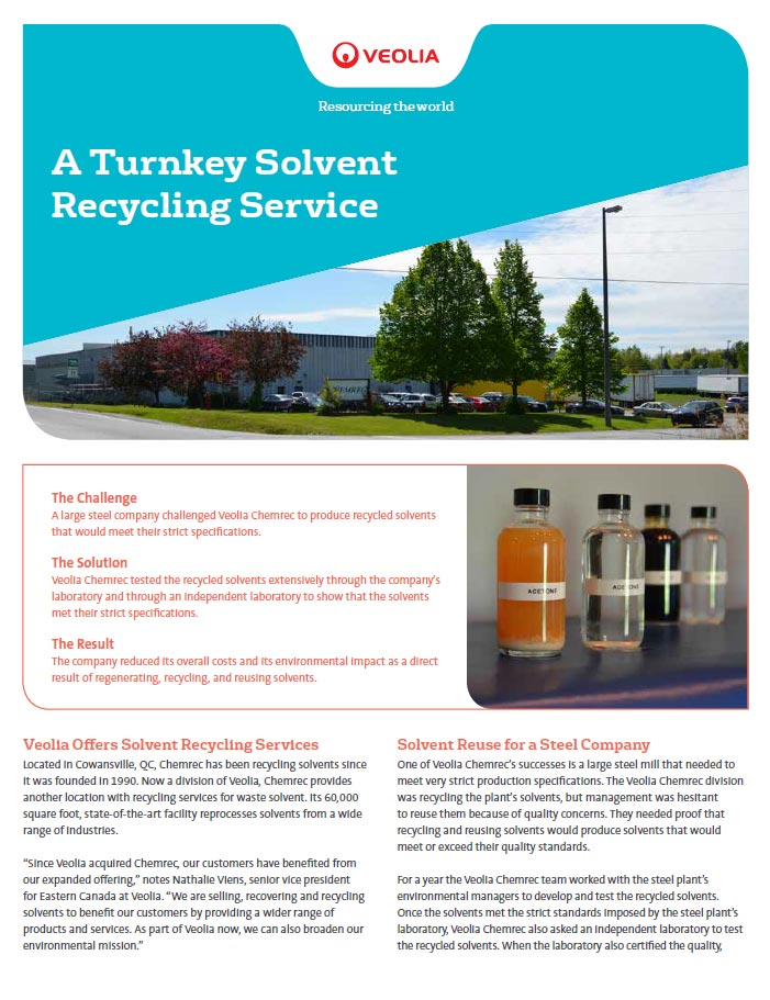 Turnkey solvent recycling service