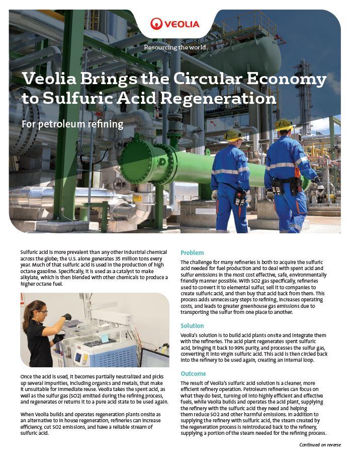 Circular economy and sulfuric acid regeneration